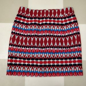 J. Crew Abstract Red and Blue Pattern Skirt